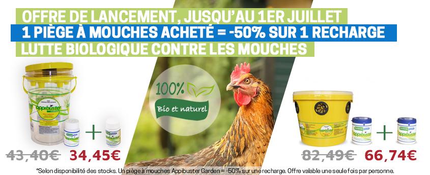 Offre de lancement AppiBuster : 1 piège à mouches acheté = 1 recharge à -50%